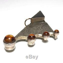 Yumi Ueno Japanese Vintage Artisan Modernist Brooch Pin 1998 Sterling Gold Amber